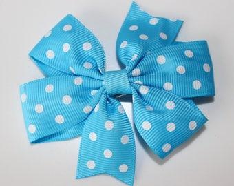 Hair clip bowtie turquoise white polka dot for girl