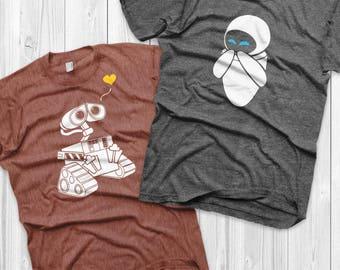 Wall-e and Eve Shirts Disney Couples Shirts Wall-e Custom Matching Shirts Couple T-shirts vacation shirts