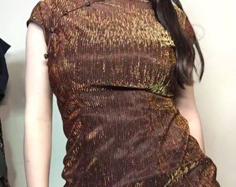 Dark Brown sparkly Chinese dress -M