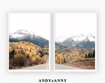 Landscape Digital Download, Mountain Print, Set of 2 Wall Art, Forest Art, Nature Landscape Art Prints, Printable Wall Art, Poster Print Set