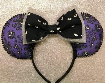 Echoing Halls Ears, Haunted Mansion Ears, Haunted Mansion Print Ears, Haunted Mansion Mickey Ears, Disney Ears