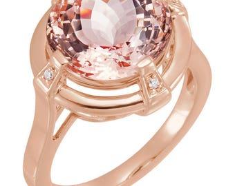 14kt Rose Gold Genuine Morganite Ring, Morganite Engagement Ring