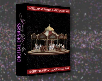 Circus Carousel Overlay, LARGE File, High Resolution PNG File, Instant Download.