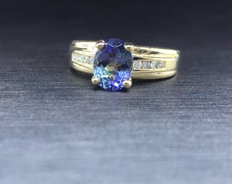 Yellow Gold  Ring - Diamond Ring -Tanzanite Ring - Oval Ring - Gold Tanzanite - Vintage Jewelery