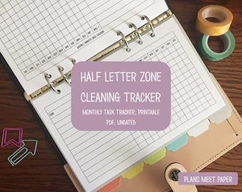 PRINTABLE Half Letter Zone Cleaning Monthly Tracker