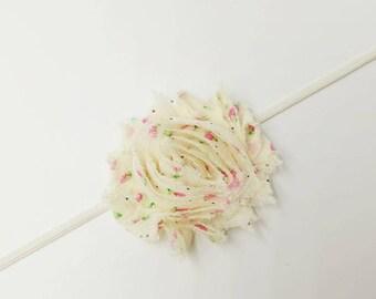 baby headband, shabby flower headband, flower headband, baby felower headband, infant headband, shabby flower, floral shabby flower