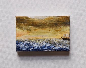Sea Salt Sailing -- Small Stormy Ocean + Ship Acrylic Painting with Easel