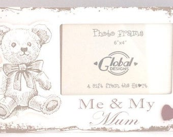 Shabby Chic Photo Cream and Brown Vintage Teddy Photo Frame Me & My Mum F1400B