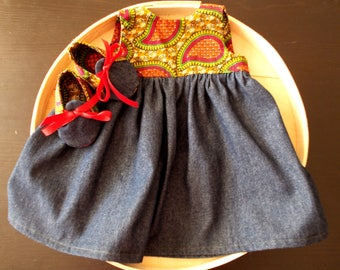 African Wax Paisley Print Infant Dress & Booties