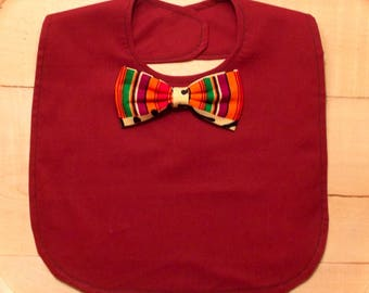 Maroon Infant Bib with African Kente Print Bow Tie