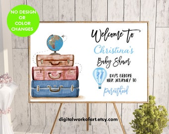 Welcome Baby Shower Sign,Baby Shower Decor,Baby Shower Sign,Travel,Parenthood, Printable Baby Shower Sign,Boy,Hot Air Balloon