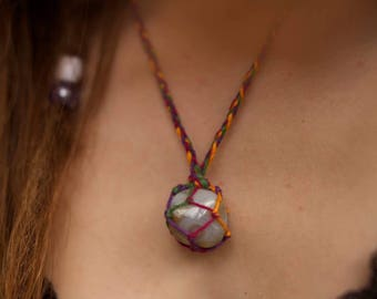 Rainbow Crochet Shadow Agate Crystal Net Necklace