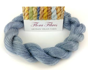 "Hand spun naturally dyed vegan tencel heavy lace weight yarn ""Deep blue sea"" for knitting crochet weaving UK"