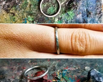 Simple Dappled Silver Band