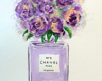SUMMER SALE - Original peonies painting,peony painting,chanel vase,peonies watercolor,peonies art,purple peonies,purple flowers,peonies
