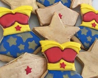Wonder Woman cookies; Wonder woman birthday, wonder woman party; wonder woman candy bar