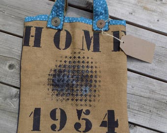 """Sac cabas, toile de jute et tissus recyclés, """"Home 1954"""""""
