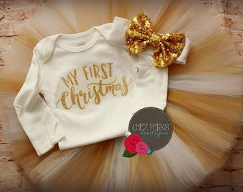 My First Christmas Baby Girl Christmas Outfit, Babies First Christmas Outfit, 1st Christmas Tutu & bodysuit