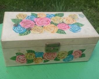 Vintage Wind Up Ballerina Jewelry Box Music Box, Retro Rose Pop Up Ballerina Trinket Box, Mid Century 1960s Rose Flower Wood Jewelry Box