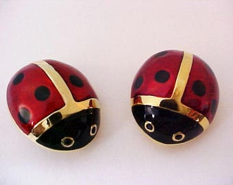 Pair of Carolee Ladybug Enamel Pins polka dot vintage red black