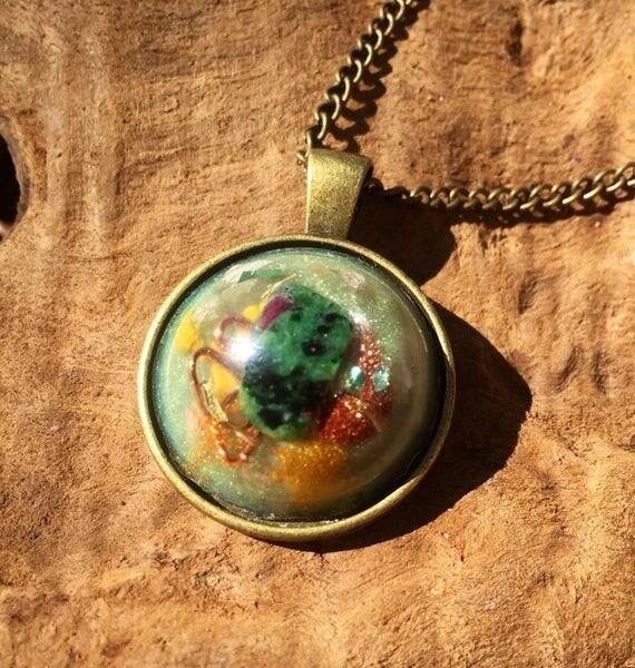 Magic Vortex Orgonite® Amulet- Curse Protection Orgonite®- Hayoka Empath Orgone necklace- Avatar Pendant-Carborundrum EMF Protection