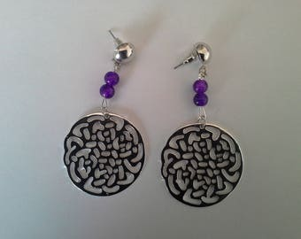 dangle earrings rose silver and purple beads