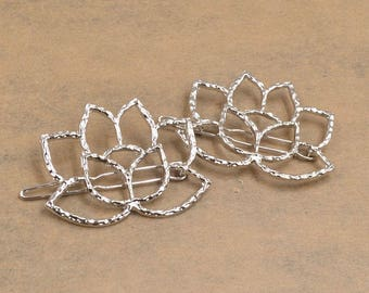 Lotus Flower Hair Clips in Silver or Gold. Pack of 2. Ladies Hair Clips. Flower Hair Clips. Set of 2 Hair clips