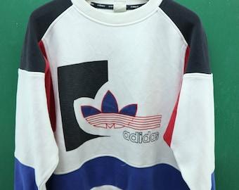 Vintage Adidas Sweatshirt Embroidery Big Trefoil Logo Sportswear Swag Hip Hop Streetwear Pullover Crewneck Sweater Multi Color Size M-L