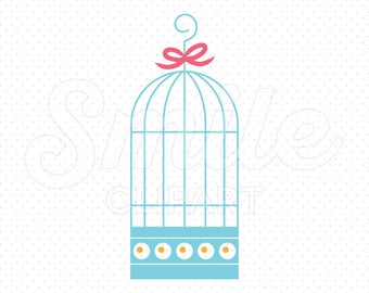 BLUE BIRDCAGE Clipart Illustration for Commercial Use | 0108