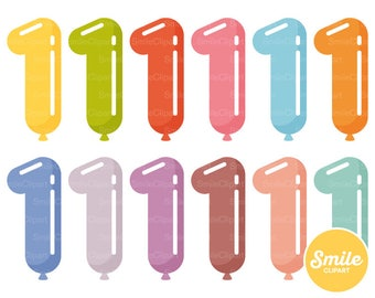 Number One Balloon Clipart Illustration for Commercial Use   0506