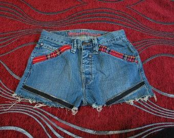 Punk Denim Shorts, Steam Punk Shorts. Rock N Roll Shorts, Tartan Plaid Cloth, High Waisted Shorts, Ladies Denim Shorts, Rockabilly Cloth