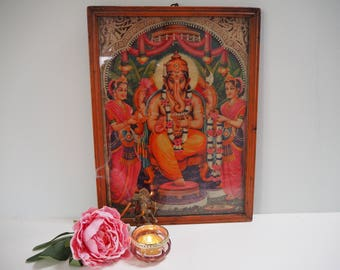 Beautiful Vintage Antique Hindu Ganesh Indian God Goddess Framed Holy Devotional Puja Print Shrine Picture Art Lithograph