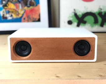 Bluetooth Speaker - SIMPLES - Wireless - High End Audio - Vintage Midcentury Modern - Mahogany Hard Wood