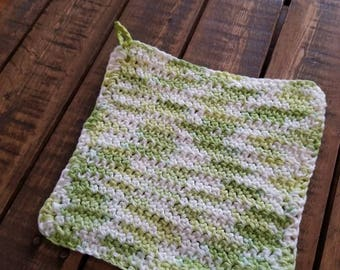 Handmade crocheted hot pad.  Reversible, double thick.