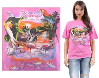 Pink Flamingo T Shirt 90s Flamingo Las Vegas Printed Soft Cotton Oldschool 1990s Pink Green Orange Retro Top Medium Large