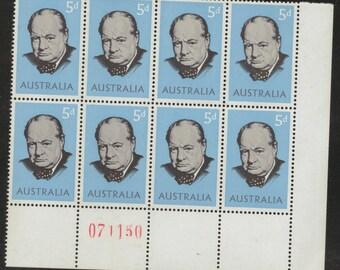 Australia Pre-Decimal 1965 Sir Winston CHURCHILL Numbered Block of 8 MUH Australian STAMPS