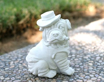 """Funny Shar-pei Dog Statue,  5.25"""" Tall,  Solid Cement, Shar-pei, Concrete Dog Statue, Garden Decor, Cement Dog Statue, Funny Dog Statue"""