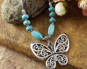 Tibetain Silver Butterfly & Turquoise Beaded Necklace
