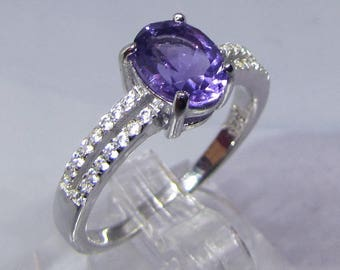 Amethyst silver ring and Zirconium size 56