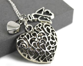 Filigree Puff Heart with Angel Urn Necklace , Memorial Jewellery,  Cremation Jewelry, Angel in my Heart Urn Necklace