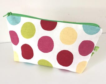 Multicolor polka dots makeup case