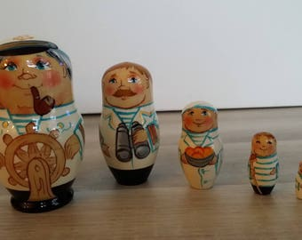 Very nice matriochkas sailor 5 piece nesting doll
