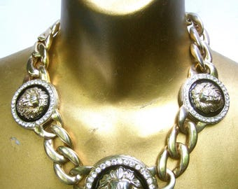 Chunky Gilt Metal Lion Medallion Necklace c 1980s