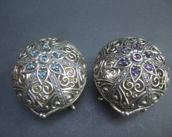 Exquisite Sterling Silver Diminutive Jeweled Artisan Trinket Boxes