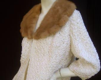Mink Collar White Ribbon Jacket c 1960
