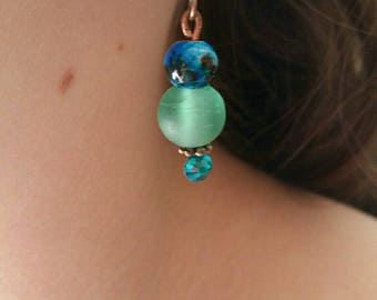 Blue and green earrings with Rhinestones