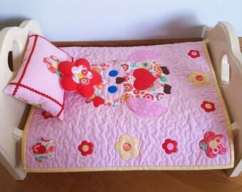 Doll Bedding Set, Owl, Doll Quilt, Bedding Set, 18 inch Dolls, American Girl Doll, Doll Pillow, Pink, Flower