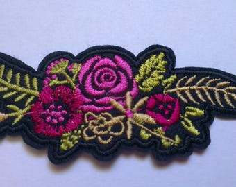 Pink Purple Flowers Iron on Applique, Flowers Iron on Patch, Flowers Iron-on Application