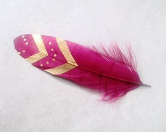 x 1 feather plum & gold patterns Bohemian ~ 15cm