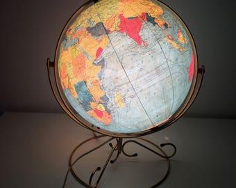 Globe Earth glass Taride 35 cm vintage 1969